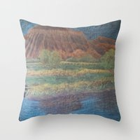 garfield Throw Pillows featuring Mt. Garfield and Reflection by Brusling