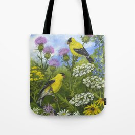 Goldfinches and Thistle Tote Bag