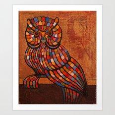 Mosaic owl. Art Print