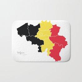 Belgium map artwork with flag illustration Bath Mat
