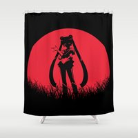 sailormoon Shower Curtains featuring Red Moon SailorMoon by Timeless-Id