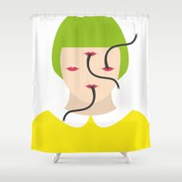 monster Shower Curtains featuring Monster by Valentina