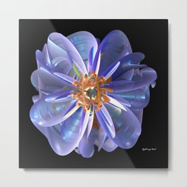Purple & Gold Flower Metal Print