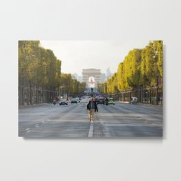 Man on Champs Elysees Metal Print