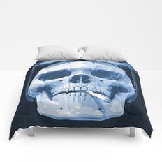 Skull Smoking Cigarette Blue Comforters