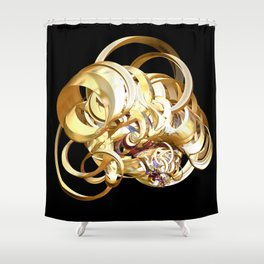 Fractal Christmas Ribbon Shower Curtain