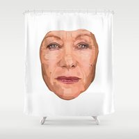 helen Shower Curtains featuring Shaping the Stars - Helen Mirren by zajface