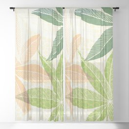 Modern Hawaiian Print IV / Contemporary Floral Sheer Curtain