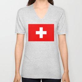 Flag of Switzerland 2x3 scale Unisex V-Neck