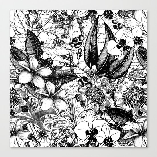 Black and white tropical flower Canvas Print