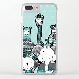 Doodle Animal Friends Aqua & Grey Clear iPhone Case
