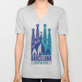 Barcelona Spain Unisex V-Neck