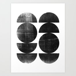 Black and White Mid Century Modern Circles Abstract Kunstdrucke