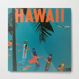Surfing Hawaii - Jet Clippers to Hawaii Vintage Travel Poster Metal Print