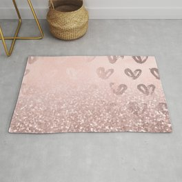 Rose Gold Sparkles on Pretty Blush Pink with Hearts Rug