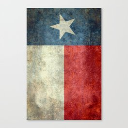Texas flag, Retro style Vertical Banner Canvas Print