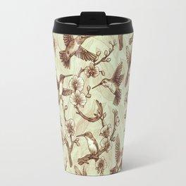 Sepia Hummingbird Pattern Travel Mug