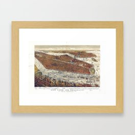 Aerial View of New York and Brooklyn, with Jersey City and Hoboken water front (1877) Framed Art Print