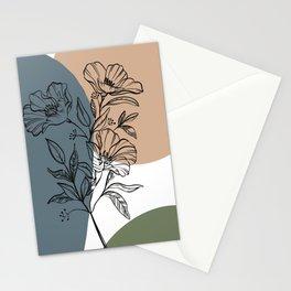 flowers boho style - home decor boho lineart Bohemian green blue beige Stationery Cards