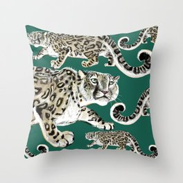 Snow leopard in green Throw Pillow