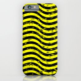 Wiggly Yellow and Black Speckle Pattern iPhone Case