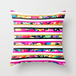 Neon floral pattern pink gold glitter stripes Throw Pillow
