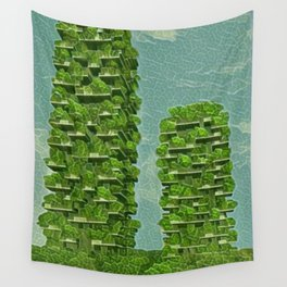 Italy Bosco Verticale Artistic Illustration Green Leaf Style Wall Tapestry