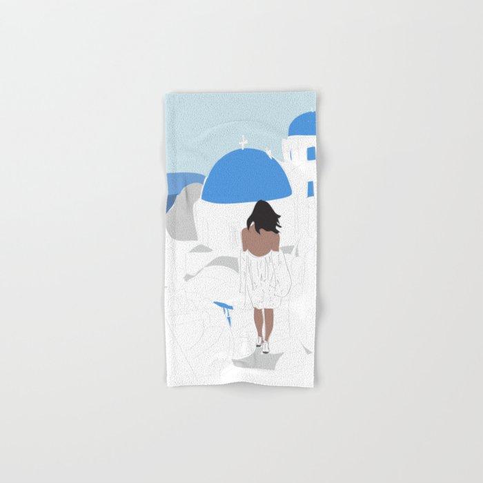 Santorini, Greece Travel Poster Hand & Bath Towel