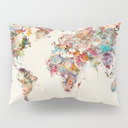 world map watercolor deux Pillow Sham