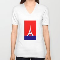 france V-neck T-shirts featuring FRANCE by Marcus Wild