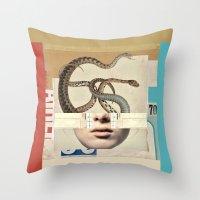 medusa Throw Pillows featuring medusa by Robert Alan