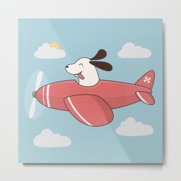 Kawaii Cute Dog Flying Airplane Metal Print