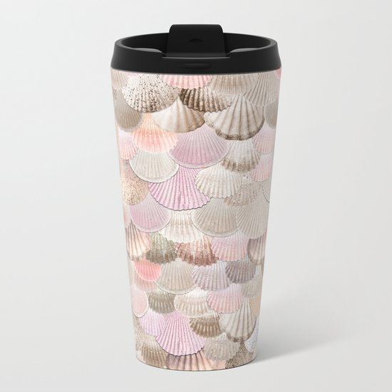 MERMAID SHELLS - CORAL ROSEGOLD Metal Travel Mug