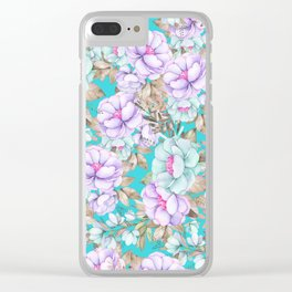 Modern aqua lavender teal watercolor hand painted floral Clear iPhone Case