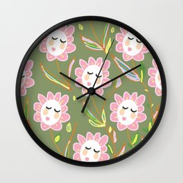 Springy Ladyflowers Wall Clock