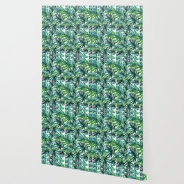 Elephant Tropical Leaves Pattern Wallpaper