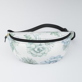 Succulents Pastel Mint Green Turquoise Teal Sky Blue Pattern Fanny Pack