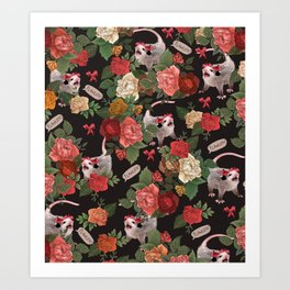 Opossum Floral Pattern (with text) Art Print
