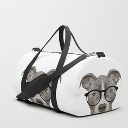 Pit bull with glasses Dog illustration original painting print Duffle Bag