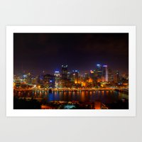 pittsburgh Art Prints featuring Pittsburgh by Zachary DiBeradin