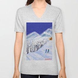Christmas Skiers  Unisex V-Neck