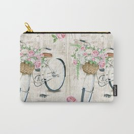 White bike & roses Carry-All Pouch