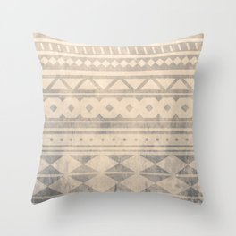 Ethnic geometric pattern with triangles circles shapes and lines Throw Pillow