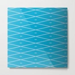 Net Pattern Light Blue Marine Blue Metal Print