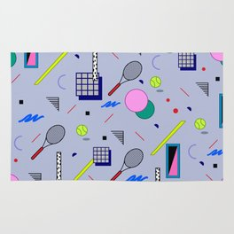 Seamless colorful pattern in retro style on grey background with tennis ball and tennis racket Rug