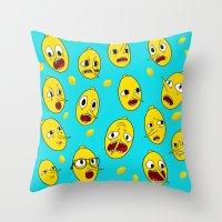 lemongrab Throw Pillows featuring Lemongrab BLUE  by Stiles