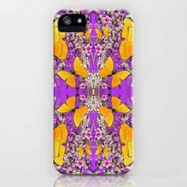 YELLOW BUTTERFLY & GARDEN FLOWER LILAC PATTERNS iPhone Case