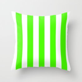 Chlorophyll green - solid color - white vertical lines pattern Throw Pillow