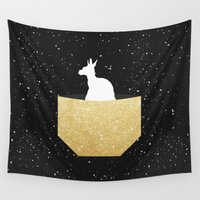pocket Wall Tapestries featuring ANIMAL POCKET by Marg