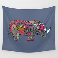 rhino Wall Tapestries featuring Rhino by Green Girl Canvas